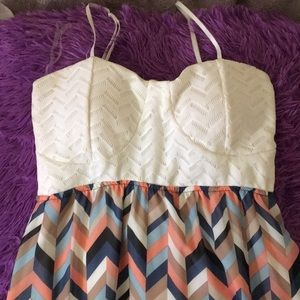 Long Multi-Colored Pattern Dress with White Top